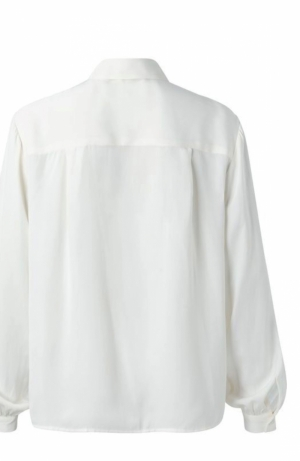 Satin shirt with puff Wool white