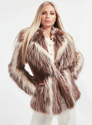 Charlene faux fur ja logo