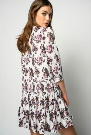 Gocciolino abito georgette White/Lila/Mult