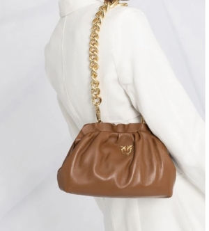 Mini chain clutch framed  cognac